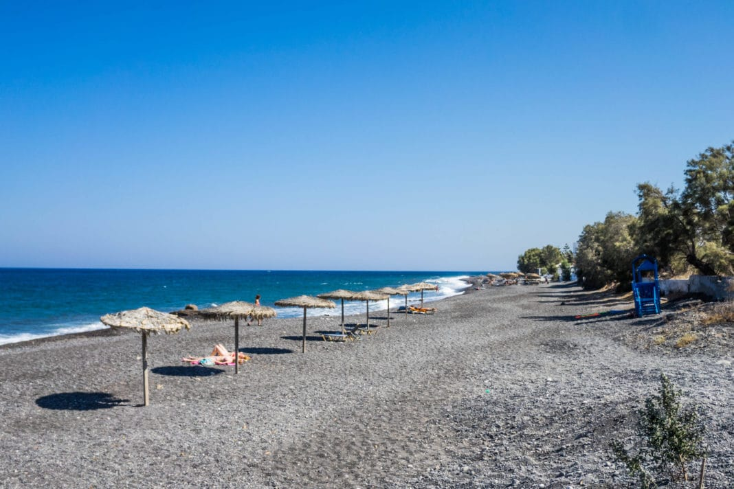 Santorini beaches - Kamari Black Sand