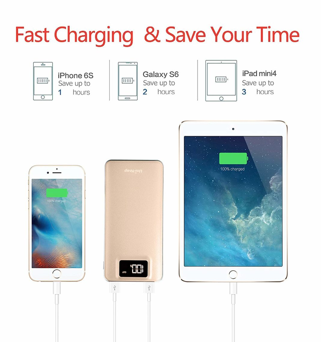 Uni-Yeap 11000 mAh External Battery Charger Power Bank - Charging Speed