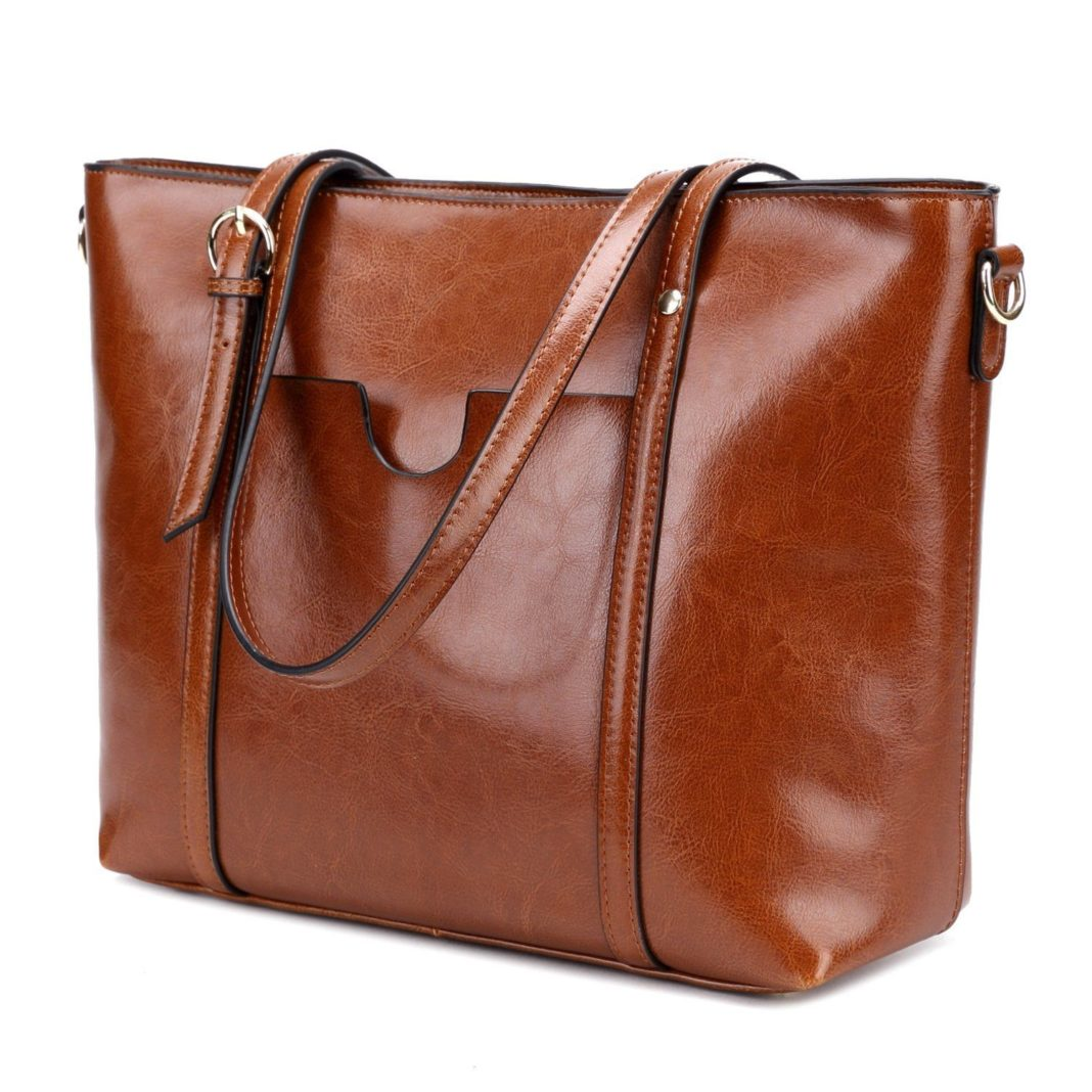 CLELO Women's Leather Tote Bag - Spacious Interior