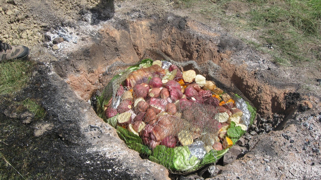 food cooked in underground oven