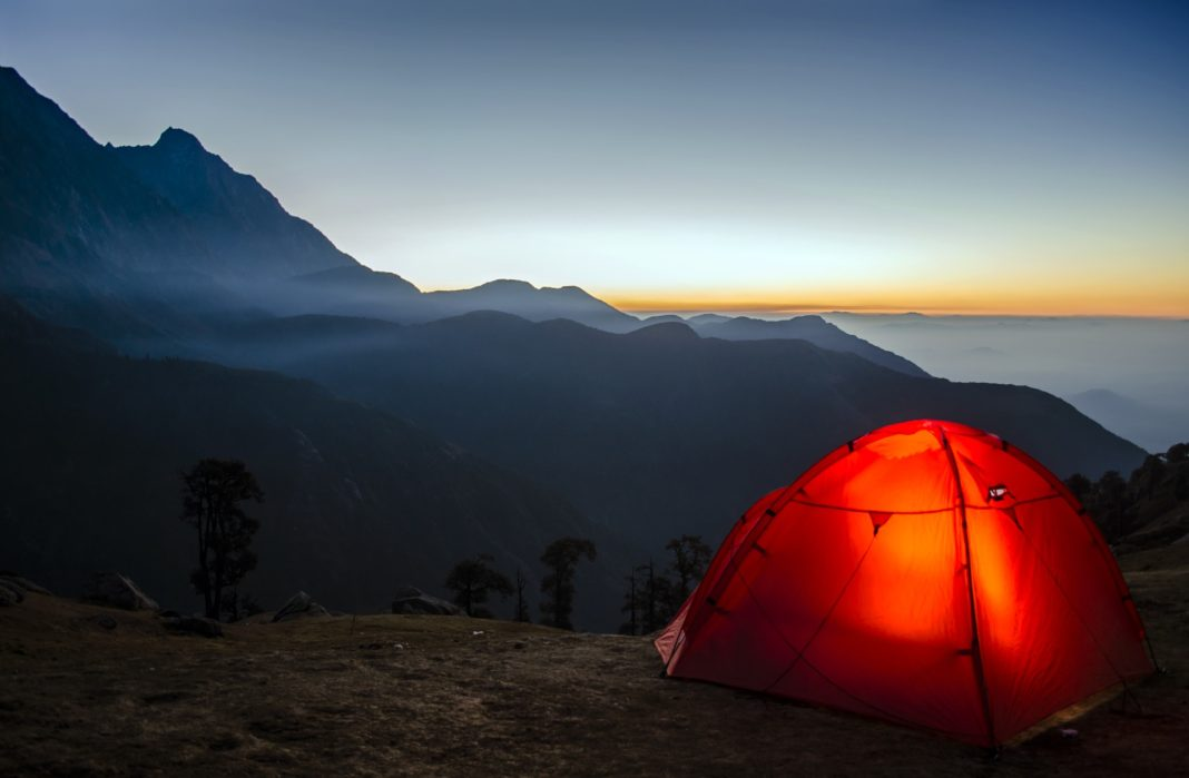sleeping in a tent - lighting