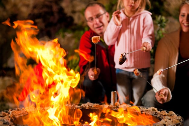 whole Family toasting marshmallows by the campfire