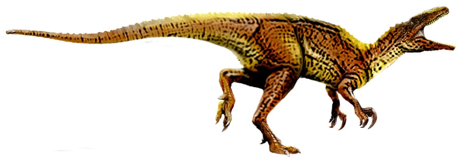 Dinosaur with shorter arms than legs, yellow and black - moving to australia