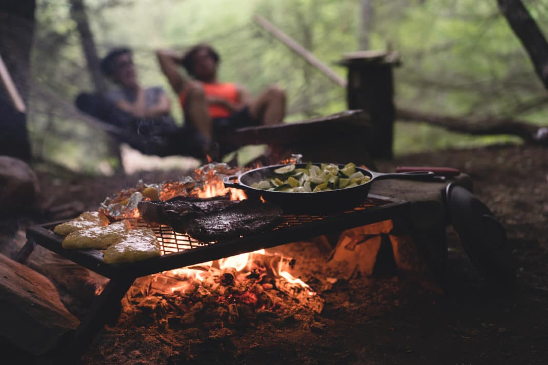 delicious food cooking on a Campfire