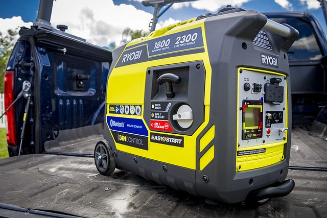 Portable Generator's start button  inside a car
