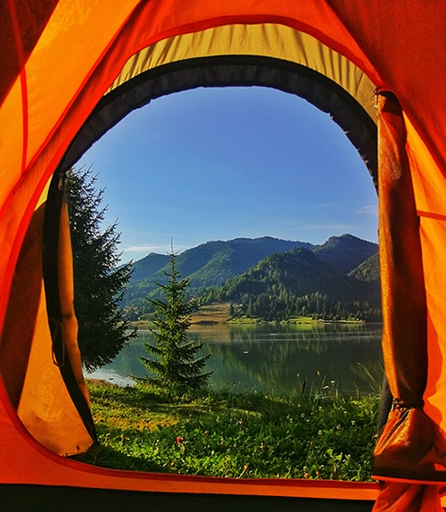 best 4 season tent s open door with a beautiful mountain and lake scenery