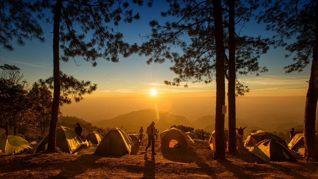 Best 4 season tents placed at the center of the forest underneath the beautiful sun light