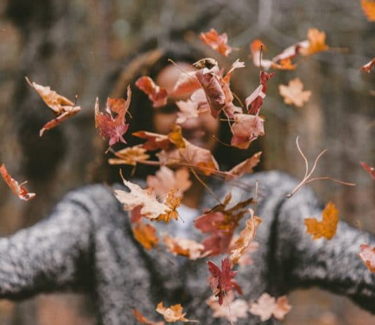 leaves getting thrown in front of a girls face