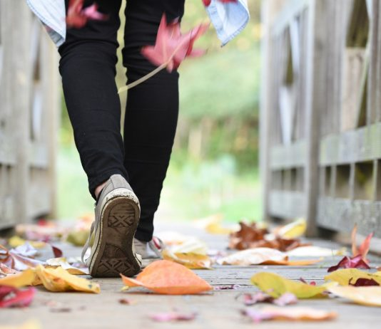 Fall travel capsule: A photo from the knees down of someone in black pants and sneakers walking across a footbridge as autumn leaves are falling.